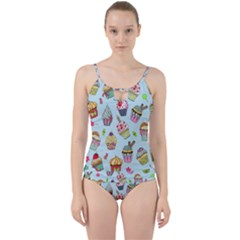 Cupcake Doodle Pattern Cut Out Top Tankini Set by Sobalvarro