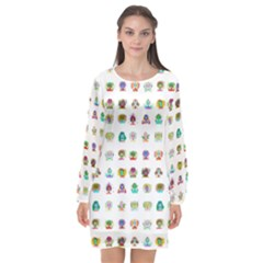 All The Aliens Teeny Long Sleeve Chiffon Shift Dress  by ArtByAng