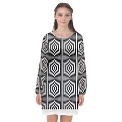 Optical Illusion Long Sleeve Chiffon Shift Dress  by Sparkle