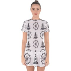 Marine Nautical Seamless Pattern With Vintage Lighthouse Wheel Drop Hem Mini Chiffon Dress by Wegoenart