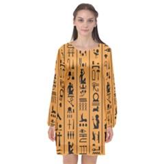 Egyptian Hieroglyphs Ancient Egypt Letters Papyrus Background Vector Old Egyptian Hieroglyph Writing Long Sleeve Chiffon Shift Dress
