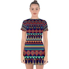Pattern Tribal Style Drop Hem Mini Chiffon Dress by Wegoenart