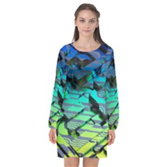Digital Abstract Long Sleeve Chiffon Shift Dress  by Sparkle