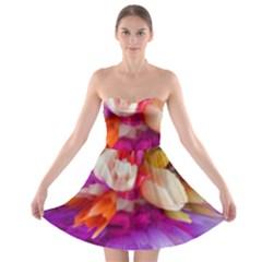Poppy Flower Strapless Bra Top Dress