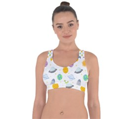 Seamless Pattern Cartoon Space Planets Isolated White Background Cross String Back Sports Bra
