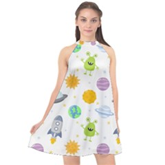 Seamless Pattern Cartoon Space Planets Isolated White Background Halter Neckline Chiffon Dress  by Vaneshart