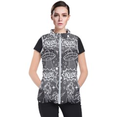 Vector Flat Space Design Background With Text Women s Puffer Vest