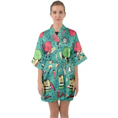 Seamless Pattern With Funny Monsters Cartoon Hand Drawn Characters Unusual Creatures Half Sleeve Satin Kimono  by Vaneshart