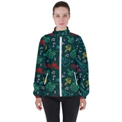 Guitars Musical Notes Seamless Carnival Pattern Women s High Neck Windbreaker