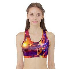Far Future Human Colonization Sports Bra With Border by Vaneshart