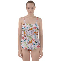 Colorful Ditsy Floral Print Background Twist Front Tankini Set
