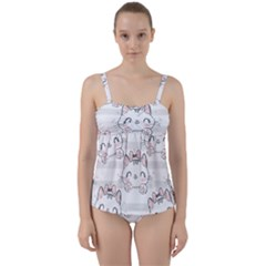 Cat With Bow Pattern Twist Front Tankini Set by Vaneshart