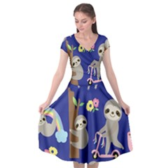 Hand Drawn Cute Sloth Pattern Background Cap Sleeve Wrap Front Dress by Vaneshart