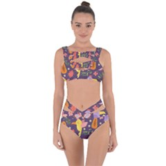 Exotic Seamless Pattern With Parrots Fruits Bandaged Up Bikini Set  by Vaneshart