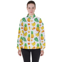 Tropical Fruits Pattern Women s High Neck Windbreaker