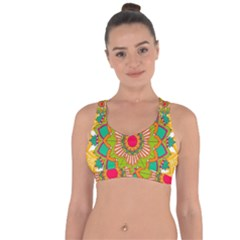 Mandala Patterns Yellow Cross String Back Sports Bra by Vaneshart