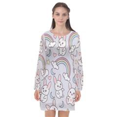 Seamless Pattern With Cute Rabbit Character Long Sleeve Chiffon Shift Dress  by Vaneshart