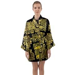 American Golden Ancient Totems Long Sleeve Satin Kimono