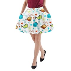 Birds Pattern Design A-line Pocket Skirt