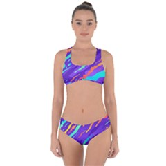 Multicolored Abstract Background Criss Cross Bikini Set by Vaneshart