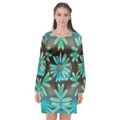 Blue Florals As A Ornate Contemplative Collage Long Sleeve Chiffon Shift Dress  by pepitasart