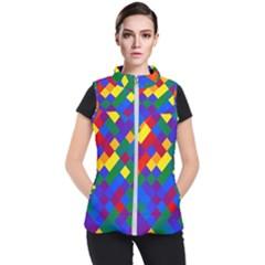 Gay Pride Diagonal Pixels Design Women s Puffer Vest by VernenInkPride