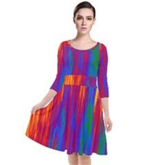 Gay Pride Rainbow Vertical Paint Strokes Quarter Sleeve Waist Band Dress by VernenInkPride