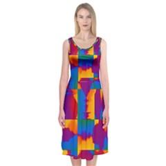 Gay Pride Rainbow Painted Abstract Squares Pattern Midi Sleeveless Dress