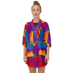 Gay Pride Rainbow Painted Abstract Squares Pattern Half Sleeve Chiffon Kimono by VernenInkPride