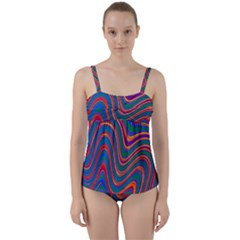 Gay Pride Rainbow Wavy Thin Layered Stripes Twist Front Tankini Set by VernenInkPride