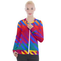 Gay Pride Rainbow Diagonal Striped Checkered Squares Casual Zip Up Jacket by VernenInkPride