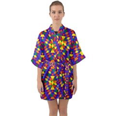 Gay Pride Geometric Diamond Pattern Half Sleeve Satin Kimono  by VernenInkPride