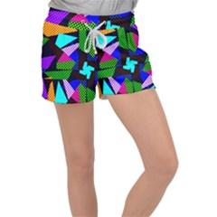 Trippy Blocks, Dotted Geometric Pattern Velour Lounge Shorts by Casemiro