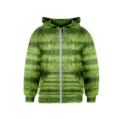 Watermelon Pattern, Fruit Skin In Green Colors Kids  Zipper Hoodie