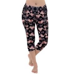 Shiny Hearts Lightweight Velour Capri Yoga Leggings by Sparkle