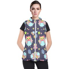 Owl Stars Pattern Background Women s Puffer Vest by Vaneshart