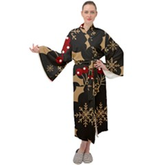 Christmas Pattern With Snowflakes Berries Maxi Velour Kimono by Vaneshart