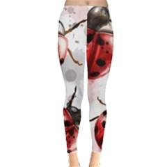 Ladybugs-pattern-texture-watercolor Leggings