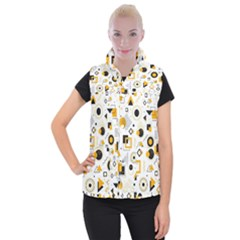 Flat-geometric-shapes-background Women s Button Up Vest by Vaneshart