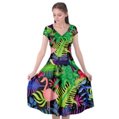 Tropical-exotic-colors-seamless-pattern Cap Sleeve Wrap Front Dress by Vaneshart