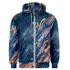 Liquid-abstract-paint-texture Men s Zipper Hoodie by Vaneshart