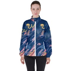 Liquid-abstract-paint-texture Women s High Neck Windbreaker by Vaneshart