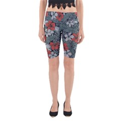 Seamless-floral-pattern-with-tropical-flowers Yoga Cropped Leggings by Vaneshart