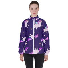 Fantasy Fat Unicorn Horse Pattern Fabric Design Women s High Neck Windbreaker by Bejoart