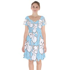 Seamless Little Cat Dragonfly Pattern Short Sleeve Bardot Dress