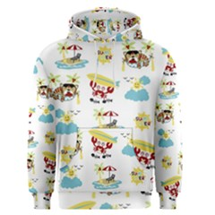 Vector Pattern With Funny Animals Cartoon Summer Holiday Beach Men s Core Hoodie by Bejoart