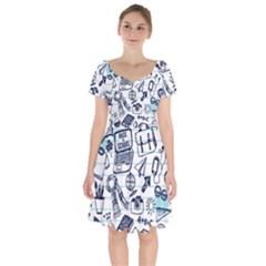Hand Drawn Back School Pattern Short Sleeve Bardot Dress