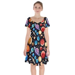 Background With Many Planets Space Short Sleeve Bardot Dress