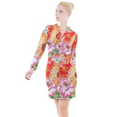 Floral Fantasy Button Long Sleeve Dress