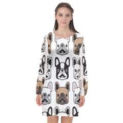 Dog French Bulldog Seamless Pattern Face Head Long Sleeve Chiffon Shift Dress  by BangZart